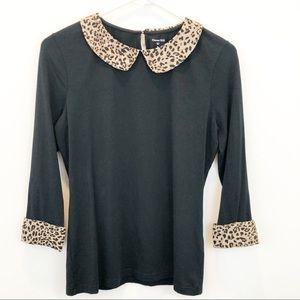 Garnet Hill Black with Leopard Collar Top